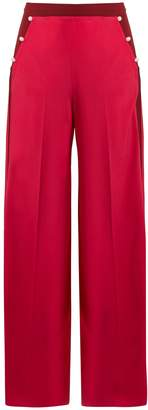 Valentino High-rise wide-leg silk crepe de Chine trousers