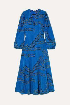 Ganni Cloverdale Printed Silk Crepe De Chine Maxi Dress - Cobalt blue
