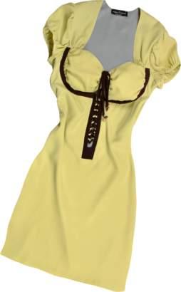Hafize Ozbudak Pistachio & Brown Trim Silk Short Sleeve Tunic