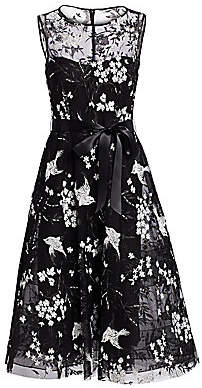 Teri Jon by Rickie Freeman Women's Avian & Floral Beaded Tie-Waist Tulle A-Line Dress