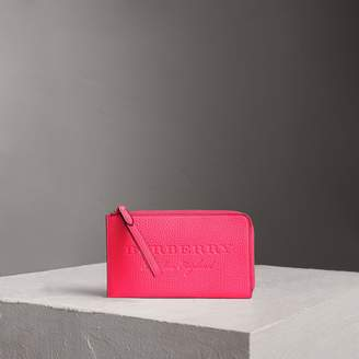 Burberry Embossed Neon Leather Travel Wallet