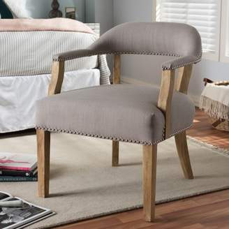 Baxton Studio Macee French Vintage Cottage Weathered Oak Finish Wood and Beige Fabric Upholstered Accent Chair