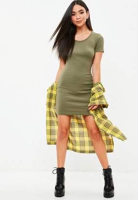 Missguided Green Short Sleeve Ribbed Mini Dress