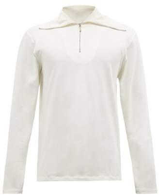 Jil Sander Zipped High Neck Cotton Blend T Shirt - Mens - White