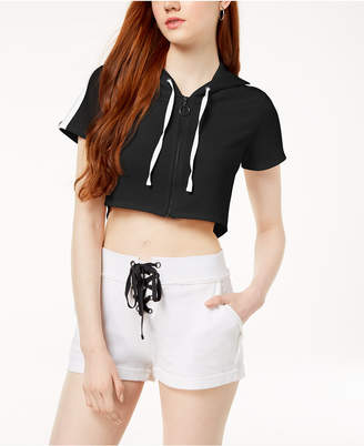 Material Girl Active Juniors' Cotton Cropped Hoodie, Created for Macy's