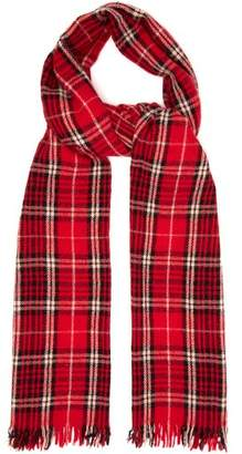 Isabel Marant Isidore Checked Wool Blend Scarf - Mens - Red