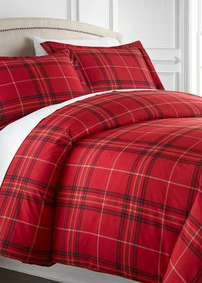 SOUTHSHORE FINE LINENS King/California King Sized Luxury Premium Oversized Comforter Sets - Plaid Red