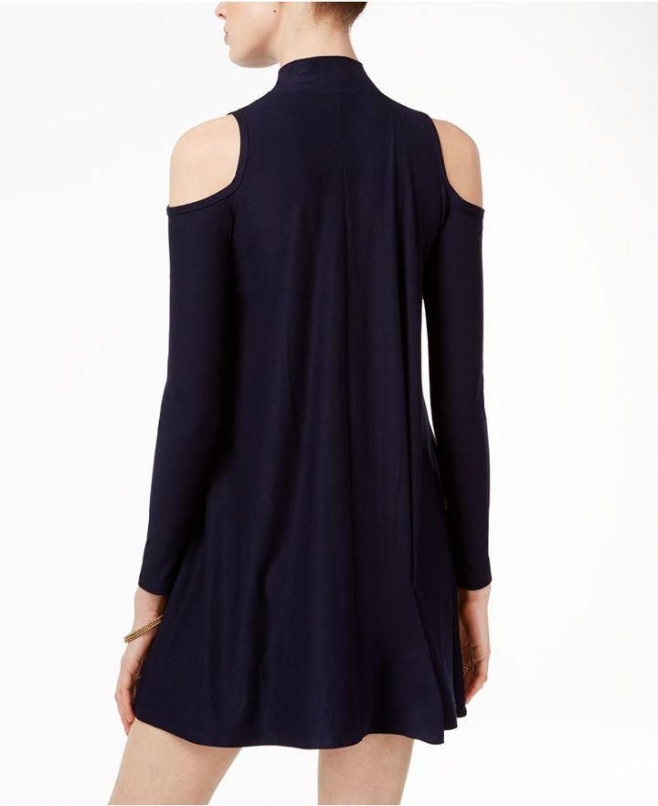 Planet Gold Juniors' Cold-Shoulder Shift Dress