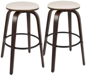 "Lumisource Porto Mid-Century Modern 30"" Barstool with Swivel in Cherry Wood and White PU by Set of 2"