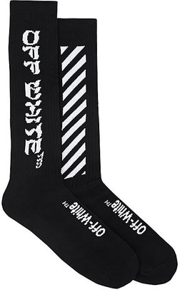 Off-White c/o Virgil Abloh Men's Diagonal-Striped Cotton-Blend Mid-Calf Socks $75 thestylecure.com