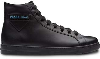 Prada high-top sneakers with Etiquette label