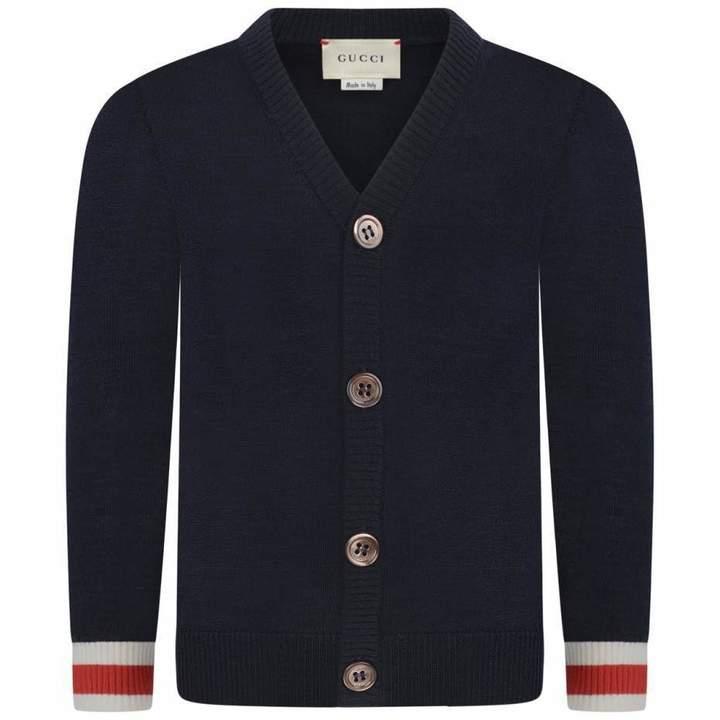 GUCCIBaby Boys Navy Wool Cardigan