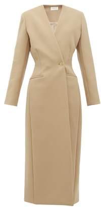 The Row Nadine Collarless Twill Coat - Womens - Camel
