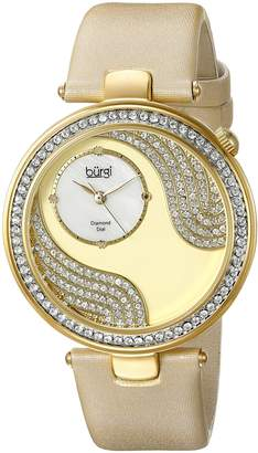 Burgi Women's BUR155YG Round Gold, White and Silver Dial Three Hand Quartz Strap Watch