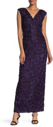 Marina Floral Applique Cap Sleeve Gown