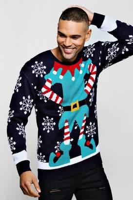 boohoo Elf Knitted Christmas Jumper