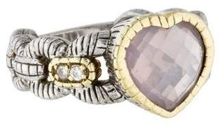 Judith Ripka Quartz and Diamond Heart Ring