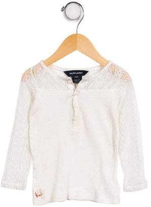 Ralph Lauren Girls' Lace-Paneled Long Sleeve Top