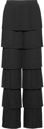 Vilshenko Lyeta Pleated Georgette Wide-leg Pants - Black