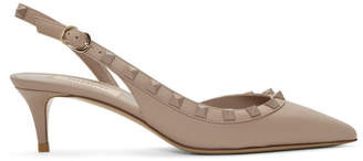 Valentino Pink Garavani Rockstud Slingback Heels
