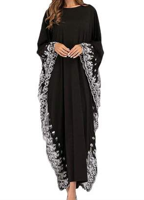 Joyccu Women s Muslim Solid Colored Embroidered Arab Plus Size Kaftans  (Color    04728d95c