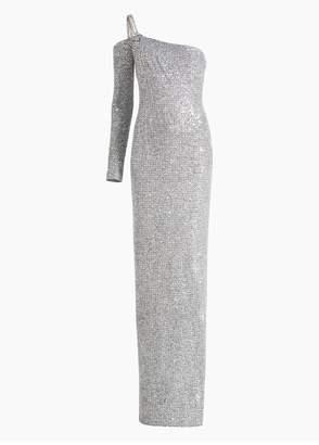 St. John Statement Sequin Knit Asymmetric Neckline Gown