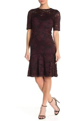 Maggy London Elbow Length Ruffle Hem Lace Sheath Dress