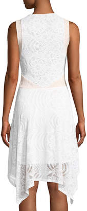 BCBGMAXAZRIA Asymmetric Lace Illusion Dress