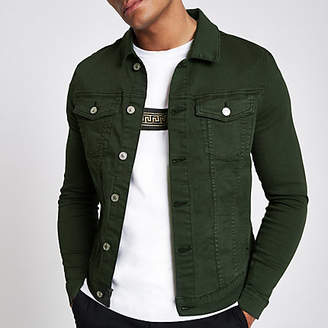 River Island Dark green muscle fit denim jacket