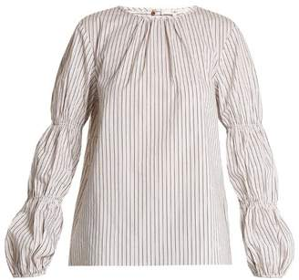 Tibi Juliet Striped Cotton Blend Top - Womens - White Multi