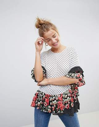 Asos DESIGN Sheer Smock Top in Mix & Match Floral Spot