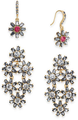 INC International Concepts I.N.C. Day & Night Hematite-Tone 2-Pc. Box Set Coordinated Crystal & Stone Flower Drop Earrings, Created for Macy's