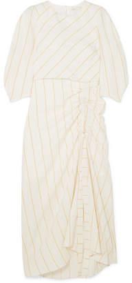 Maje Ruched Striped Gauze Midi Dress - Ecru