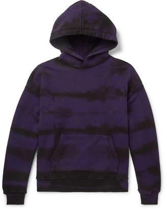 Amiri Distressed Tie-Dyed Cotton-Jersey Hoodie - Men - Purple