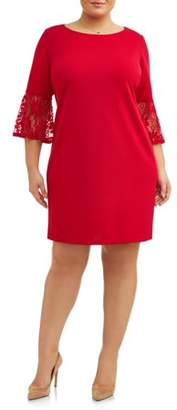 Lifestyle Attitudes Women's Plus Size Crochet Bell Sleeve Dress