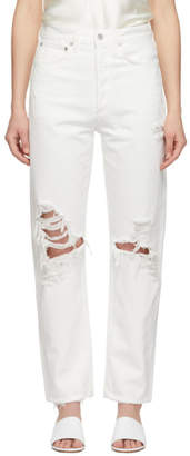 A Gold E Agolde White 90s Mid Rise Loose Fit Jeans
