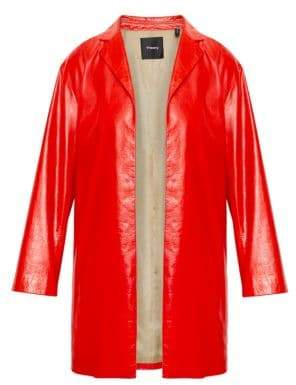 Theory Varnished Leather Overcoat