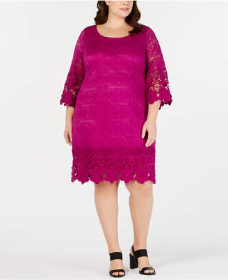 Alfani Plus Size Crochet-Trim Illusion Dress