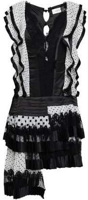 Zimmermann Pleated Polka-dot Silk Organza, Satin And Lace Mini Dress