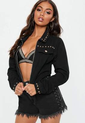 Missguided Black Cropped Studded Zip Through Jacket, Black