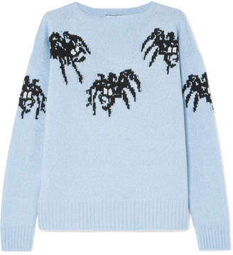 Prada - Intarsia Wool And Cashmere-blend Sweater - Blue