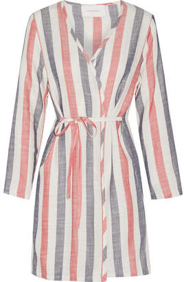 Solid and Striped - The Erin Striped Cotton-blend Gauze Robe - Crimson
