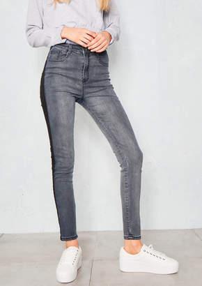 bb01af6e9ef7 Missy Empire Missyempire Armin Black Panel Denim Skinny Jeans