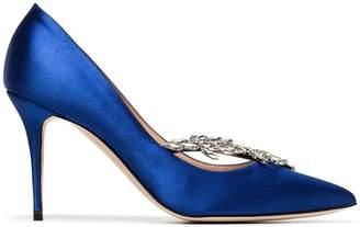 Manolo Blahnik blue Nadira 90 satin ribbon crystal pumps