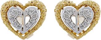 Christian Dior Estate 18k Tricolor Diamond Heart Earrings