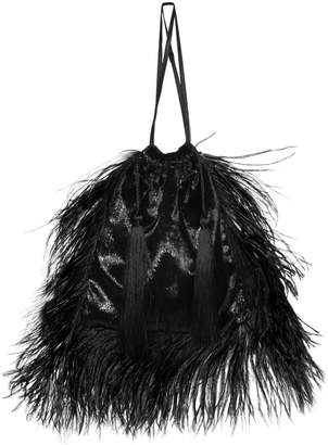 ATTICO Laminated Velvet Pouch W/ Feathers