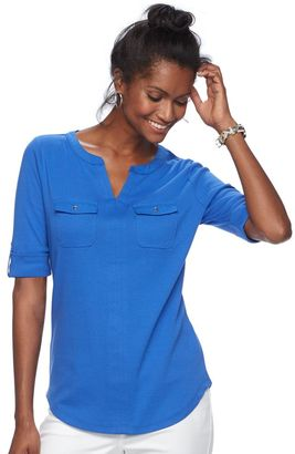 Women's Croft & Barrow® Pocket Roll-Tab Tee $30 thestylecure.com