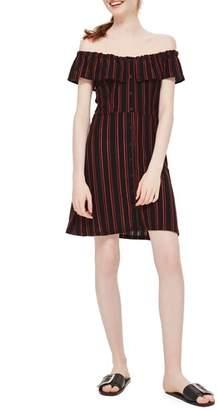 Topshop Stripe Frill Bardot Dress