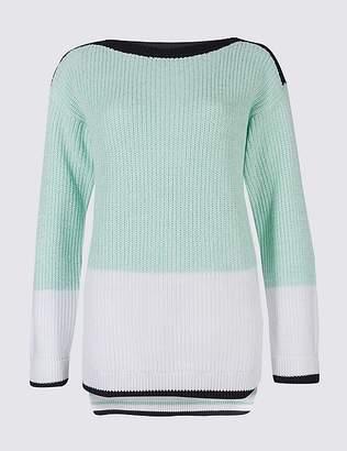 Marks and Spencer Pure Cotton Colour Block Slash Neck Jumper