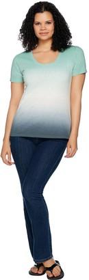 Lisa Rinna Collection Short Sleeve Gradient Tie-Dye Top